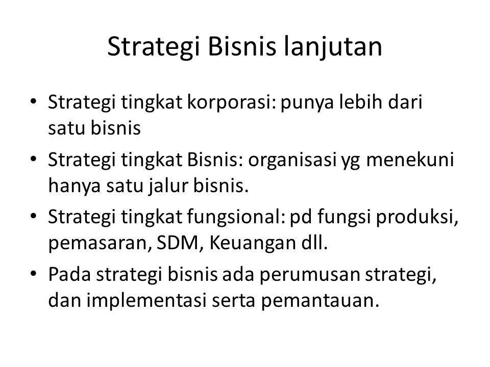 Strategi Bisnis lanjutan Strategi tingkat korporasi: punya lebih dari satu bisnis Strategi tingkat Bisnis: organisasi yg menekuni hanya satu jalur bis