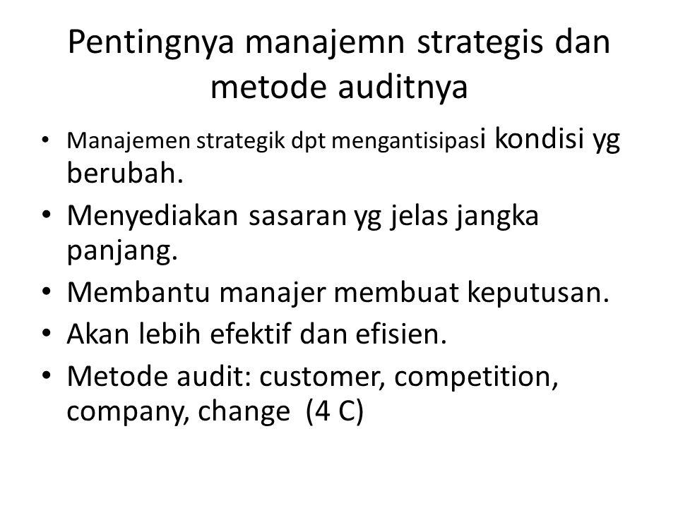 Pentingnya manajemn strategis dan metode auditnya Manajemen strategik dpt mengantisipas i kondisi yg berubah. Menyediakan sasaran yg jelas jangka panj