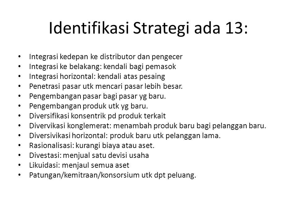 Identifikasi Strategi ada 13: Integrasi kedepan ke distributor dan pengecer Integrasi ke belakang: kendali bagi pemasok Integrasi horizontal: kendali