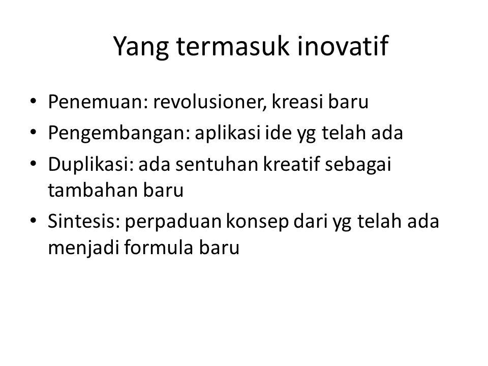 Yang termasuk inovatif Penemuan: revolusioner, kreasi baru Pengembangan: aplikasi ide yg telah ada Duplikasi: ada sentuhan kreatif sebagai tambahan ba