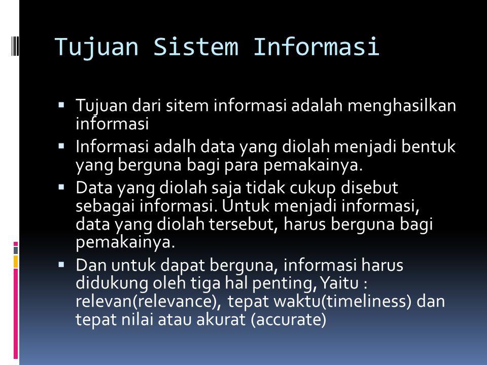 Tujuan Sistem Informasi  Tujuan dari sitem informasi adalah menghasilkan informasi  Informasi adalh data yang diolah menjadi bentuk yang berguna bagi para pemakainya.