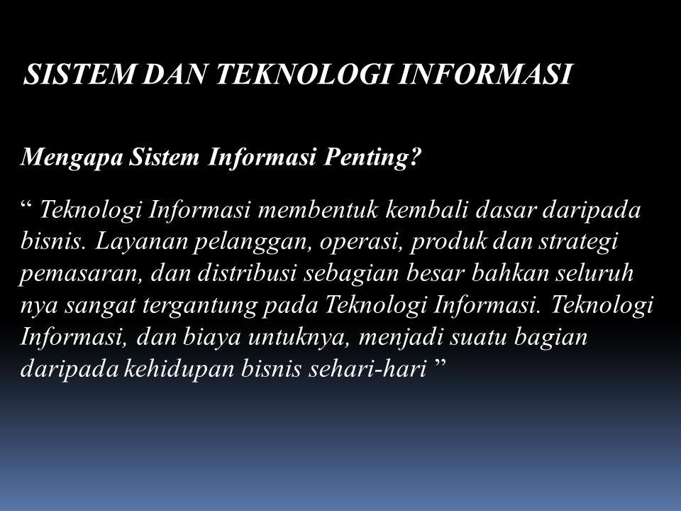 SISTEM DAN TEKNOLOGI INFORMASI Daliyo Mengapa Sistem Informasi Penting.