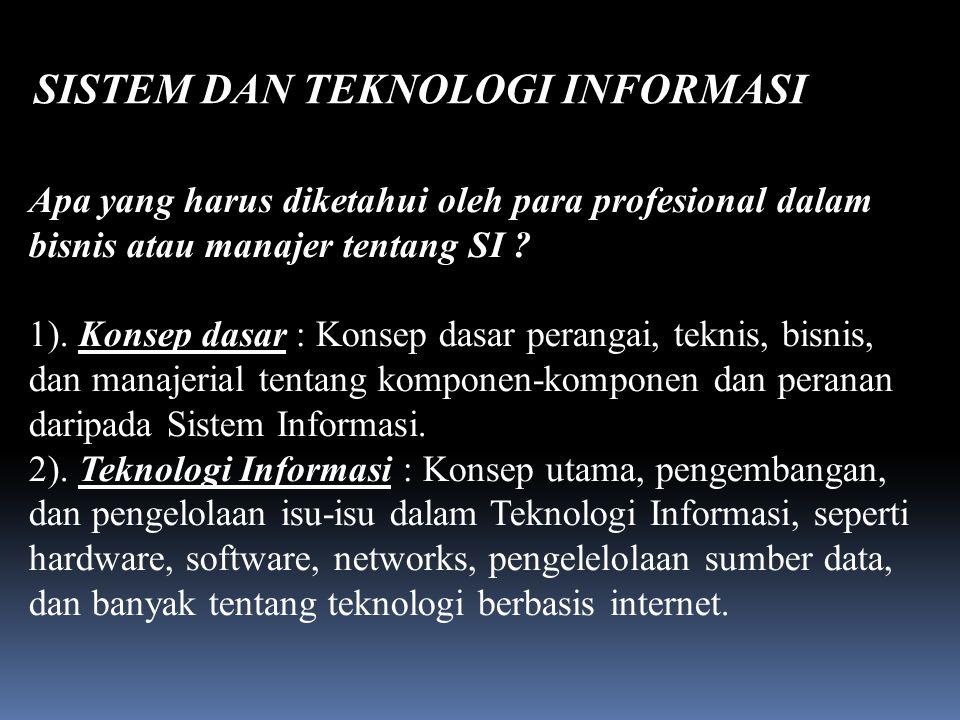 SISTEM DAN TEKNOLOGI INFORMASI Daliyo Apa yang harus diketahui oleh para profesional dalam bisnis atau manajer tentang SI .