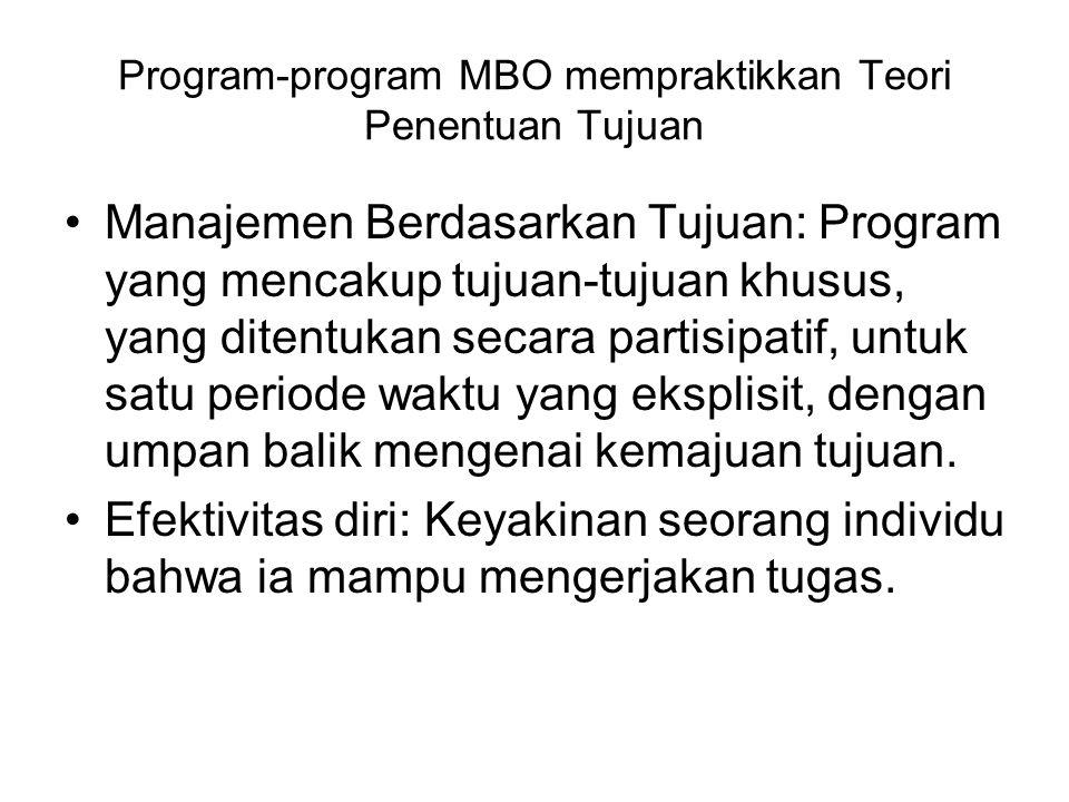 Program-program MBO mempraktikkan Teori Penentuan Tujuan Manajemen Berdasarkan Tujuan: Program yang mencakup tujuan-tujuan khusus, yang ditentukan secara partisipatif, untuk satu periode waktu yang eksplisit, dengan umpan balik mengenai kemajuan tujuan.
