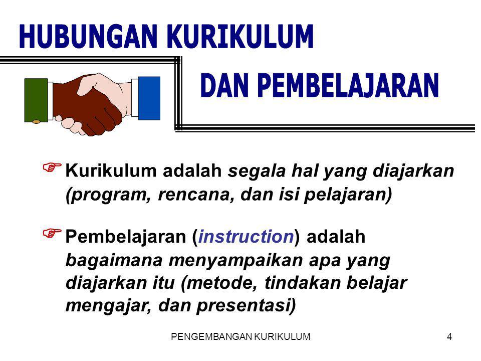 PENGEMBANGAN KURIKULUM4  Kurikulum adalah segala hal yang diajarkan (program, rencana, dan isi pelajaran)  Pembelajaran (instruction) adalah bagaima
