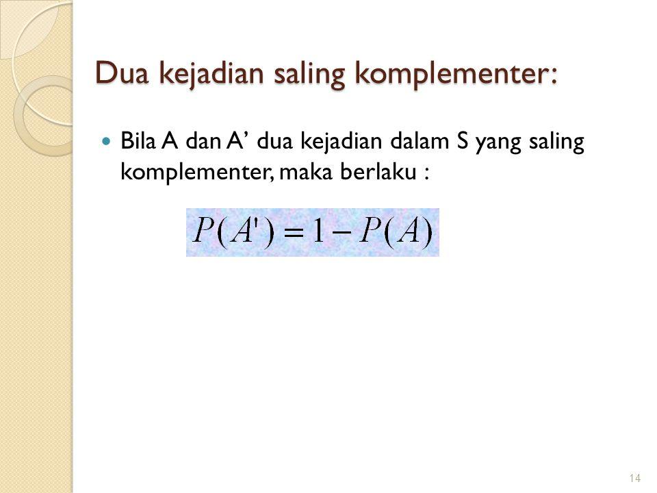 Dua kejadian saling komplementer: Bila A dan A' dua kejadian dalam S yang saling komplementer, maka berlaku : 14