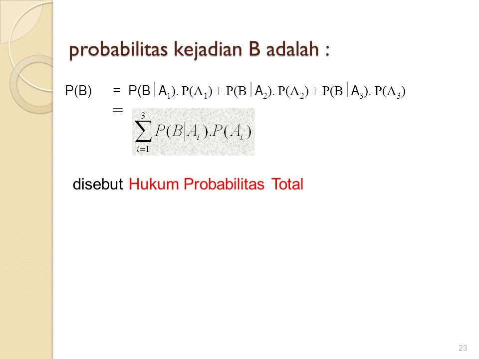 probabilitas kejadian B adalah : 23 P(B) = P(B  A 1 ). P(A 1 ) + P(B  A 2 ). P(A 2 ) + P(B  A 3 ). P(A 3 ) = disebut Hukum Probabilitas Total