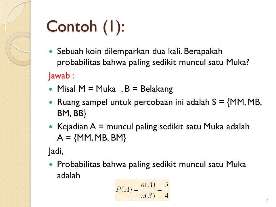 Contoh (1): Sebuah koin dilemparkan dua kali. Berapakah probabilitas bahwa paling sedikit muncul satu Muka? Jawab : Misal M = Muka, B = Belakang Ruang