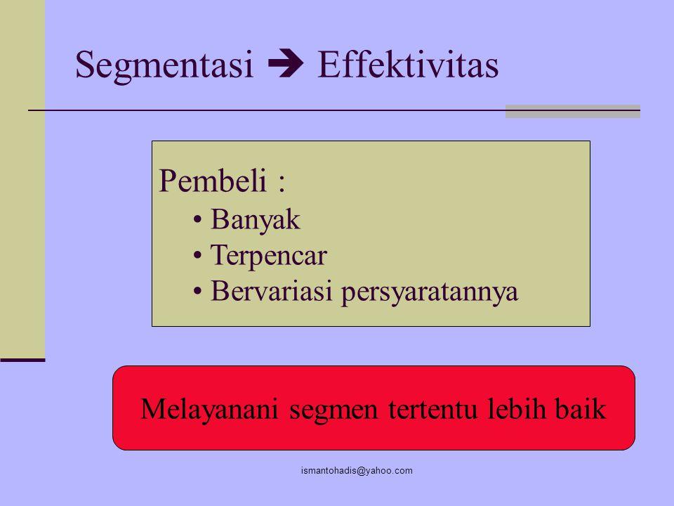 ismantohadis@yahoo.com SEGMENTASI PASAR Segmentasi pasar adalah : usaha untuk mengelompok-kelompokkan pasar, dari pasar yang bersifat heterogen menjad