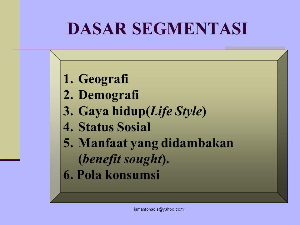 ismantohadis@yahoo.com Langkah Segmentasi 1.Identifikasi segementasi dan segmentasi pasar 2. Mengembangkan segemen yang menguntungkan