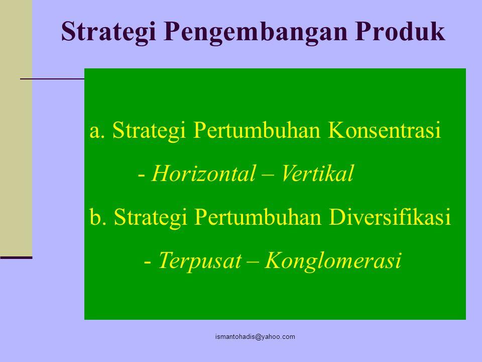 ismantohadis@yahoo.com Strategi Perelung Pasar ( memimpin pasar kecil ) 1.Spesialis pemakai akhir 2.Spesialis vertikal 3.Spesialis ukuran pelanggan 4.