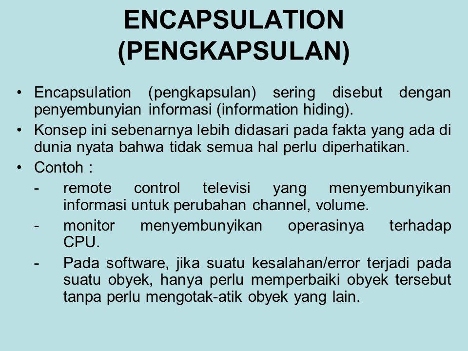 ENCAPSULATION (PENGKAPSULAN) Encapsulation (pengkapsulan) sering disebut dengan penyembunyian informasi (information hiding). Konsep ini sebenarnya le