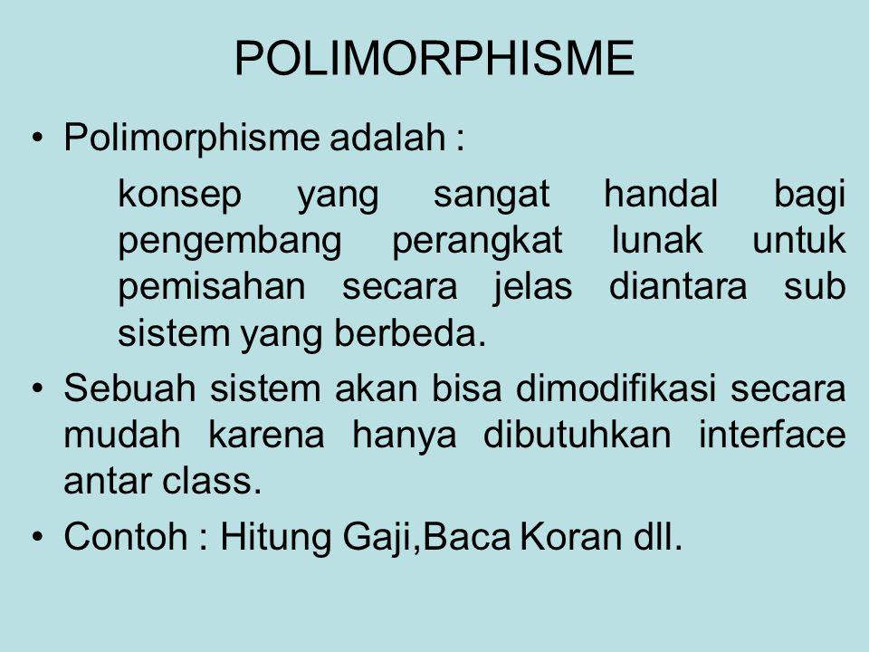 POLIMORPHISME Polimorphisme adalah : konsep yang sangat handal bagi pengembang perangkat lunak untuk pemisahan secara jelas diantara sub sistem yang berbeda.