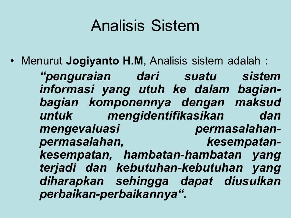 """Analisis Sistem Menurut Jogiyanto H.M, Analisis sistem adalah : """"penguraian dari suatu sistem informasi yang utuh ke dalam bagian- bagian komponennya"""