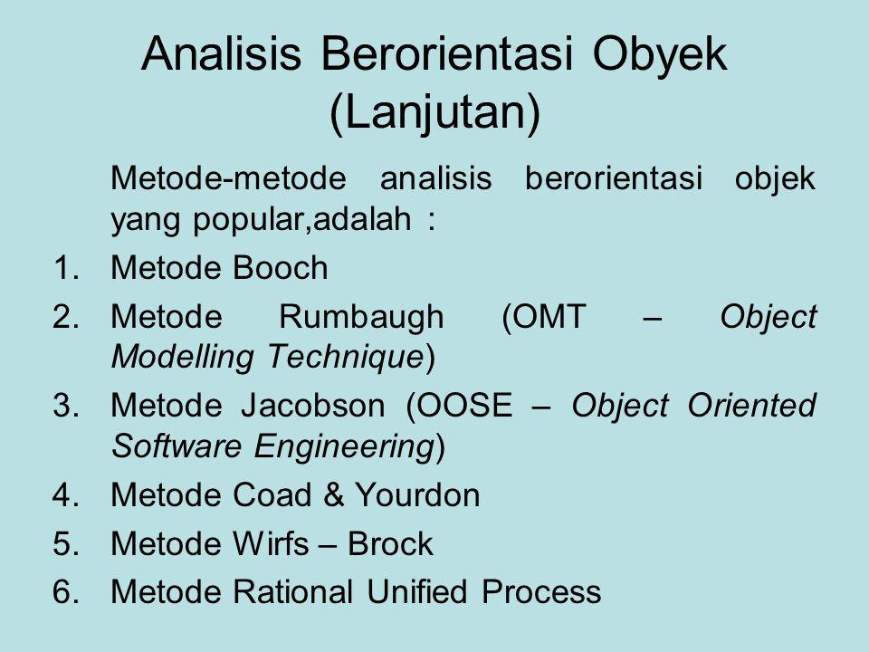 Analisis Berorientasi Obyek (Lanjutan) Metode-metode analisis berorientasi objek yang popular,adalah : 1.Metode Booch 2.Metode Rumbaugh (OMT – Object Modelling Technique) 3.Metode Jacobson (OOSE – Object Oriented Software Engineering) 4.Metode Coad & Yourdon 5.Metode Wirfs – Brock 6.Metode Rational Unified Process
