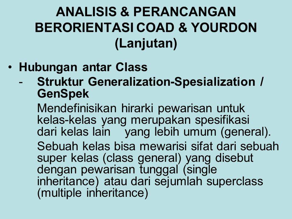 ANALISIS & PERANCANGAN BERORIENTASI COAD & YOURDON (Lanjutan) Hubungan antar Class - Struktur Generalization-Spesialization / GenSpek Mendefinisikan hirarki pewarisan untuk kelas-kelas yang merupakan spesifikasi dari kelas lain yang lebih umum (general).