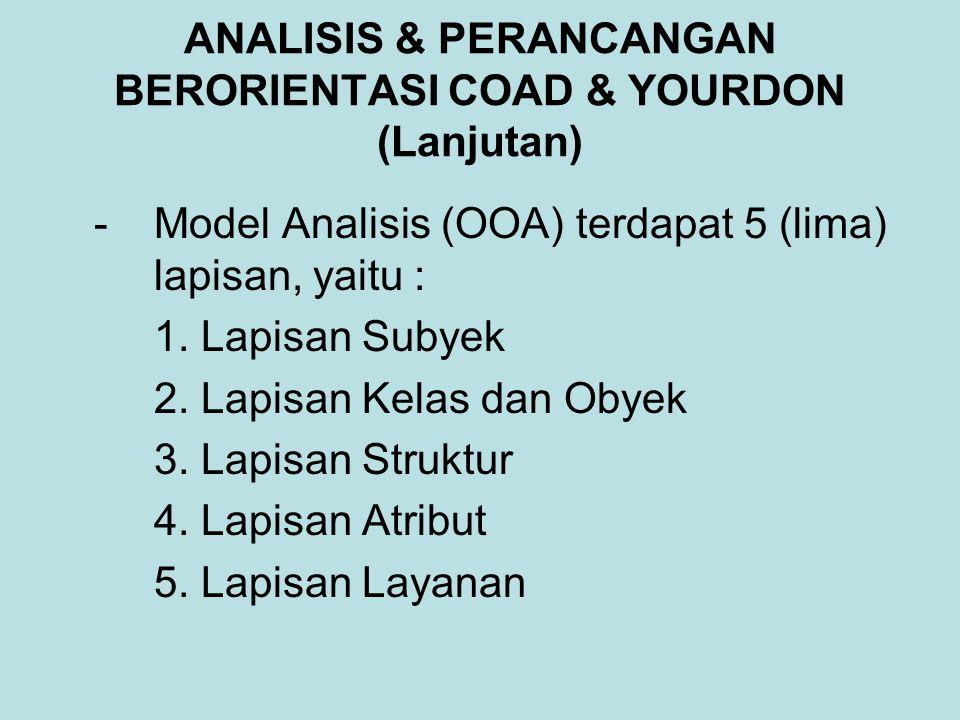ANALISIS & PERANCANGAN BERORIENTASI COAD & YOURDON (Lanjutan) -Model Analisis (OOA) terdapat 5 (lima) lapisan, yaitu : 1. Lapisan Subyek 2. Lapisan Ke