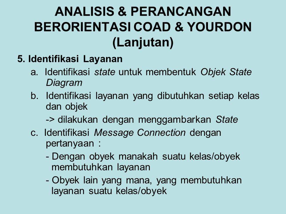 ANALISIS & PERANCANGAN BERORIENTASI COAD & YOURDON (Lanjutan) 5. Identifikasi Layanan a. Identifikasi state untuk membentuk Objek State Diagram b.Iden
