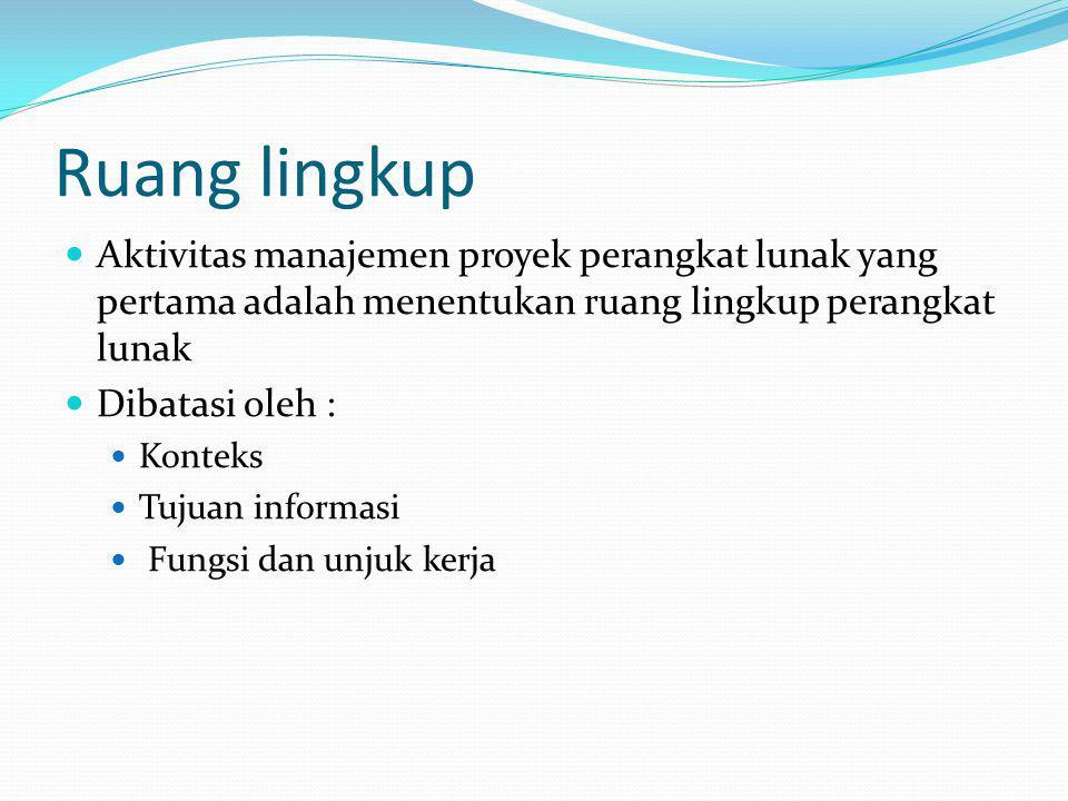 Ruang lingkup Aktivitas manajemen proyek perangkat lunak yang pertama adalah menentukan ruang lingkup perangkat lunak Dibatasi oleh : Konteks Tujuan i