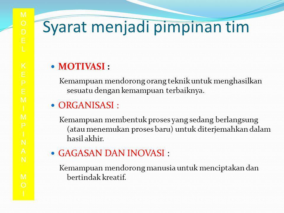 Syarat menjadi pimpinan tim MOTIVASI MOTIVASI : Kemampuan mendorong orang teknik untuk menghasilkan sesuatu dengan kemampuan terbaiknya. ORGANISASI OR