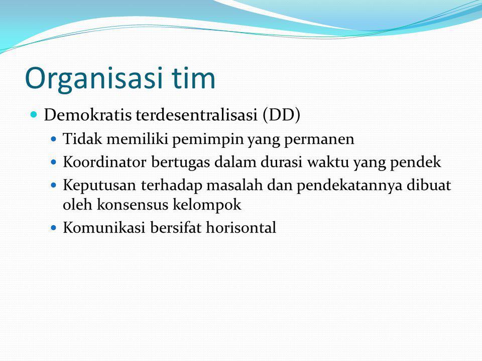 Organisasi tim Demokratis terdesentralisasi (DD) Tidak memiliki pemimpin yang permanen Koordinator bertugas dalam durasi waktu yang pendek Keputusan t