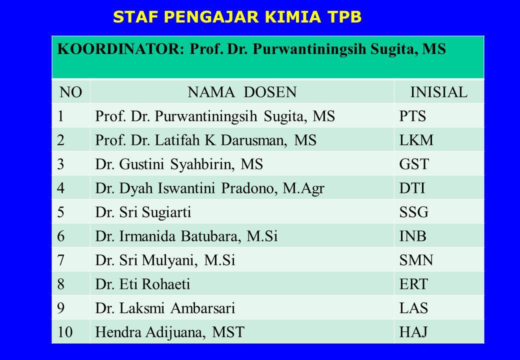STAF PENGAJAR KIMIA TPB KOORDINATOR: Prof.Dr.