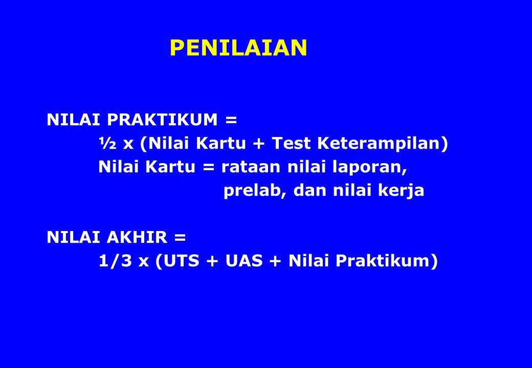 PENILAIAN NILAI PRAKTIKUM = ½ x (Nilai Kartu + Test Keterampilan) Nilai Kartu = rataan nilai laporan, prelab, dan nilai kerja NILAI AKHIR = 1/3 x (UTS + UAS + Nilai Praktikum)