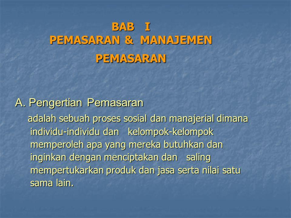 BAB I PEMASARAN & MANAJEMEN PEMASARAN A. Pengertian Pemasaran A. Pengertian Pemasaran adalah sebuah proses sosial dan manajerial dimana adalah sebuah