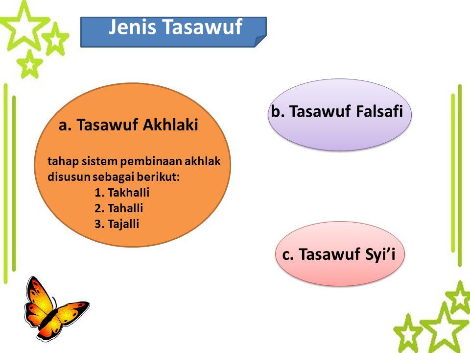 Jenis Tasawuf a. Tasawuf Akhlaki tahap sistem pembinaan akhlak disusun sebagai berikut: 1. Takhalli 2. Tahalli 3. Tajalli c. Tasawuf Syi'i b. Tasawuf