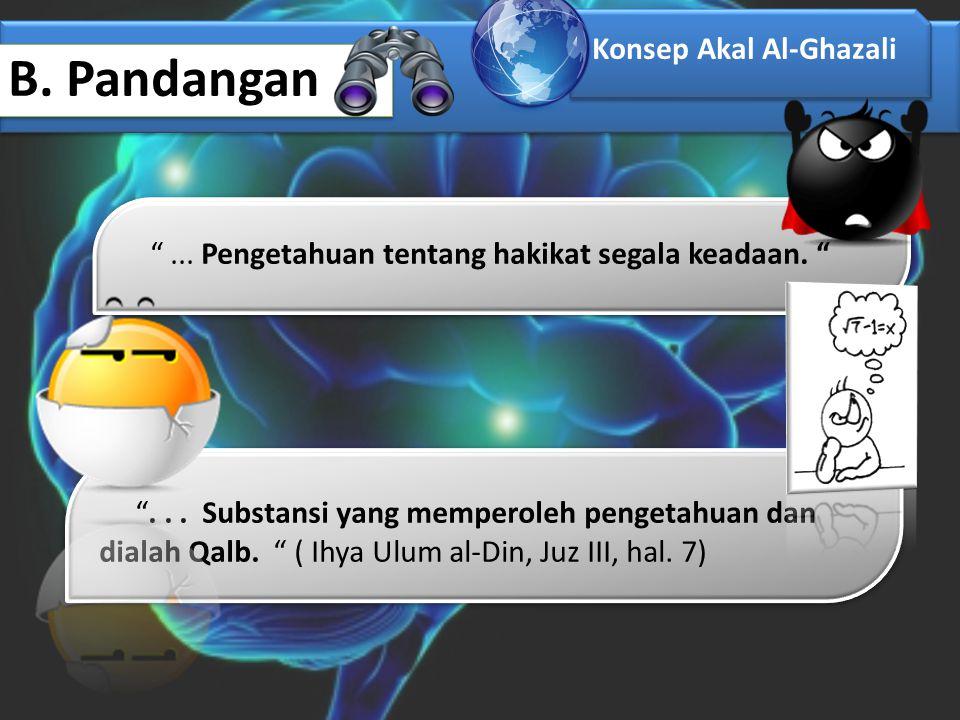 """B. Pandangan Konsep Akal Al-Ghazali """"... Pengetahuan tentang hakikat segala keadaan. """" """"... Substansi yang memperoleh pengetahuan dan dialah Qalb. """" ("""