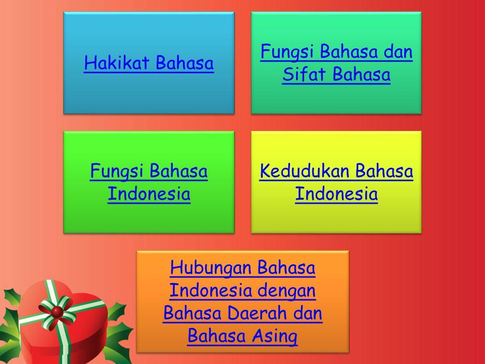Hakikat Bahasa Fungsi Bahasa dan Sifat Bahasa Fungsi Bahasa Indonesia Kedudukan Bahasa Indonesia Hubungan Bahasa Indonesia dengan Bahasa Daerah dan Ba