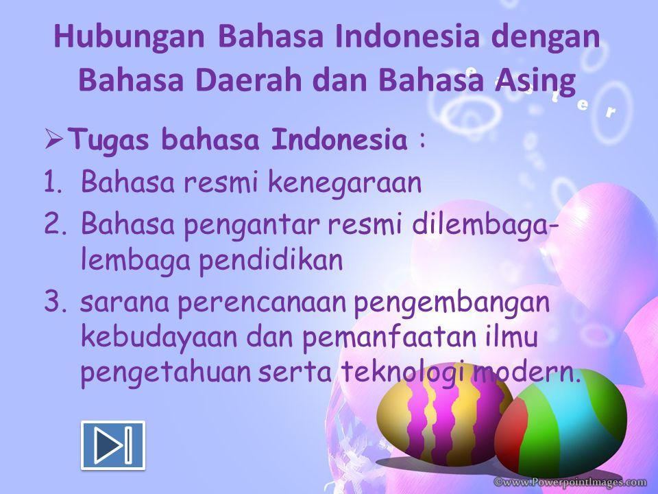 Hubungan Bahasa Indonesia dengan Bahasa Daerah dan Bahasa Asing  Tugas bahasa Indonesia : 1.Bahasa resmi kenegaraan 2.Bahasa pengantar resmi dilembag