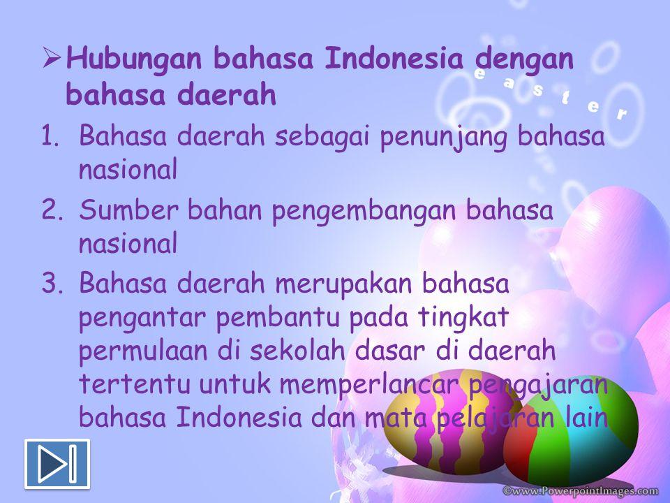  Hubungan bahasa Indonesia dengan bahasa daerah 1.Bahasa daerah sebagai penunjang bahasa nasional 2.Sumber bahan pengembangan bahasa nasional 3.Bahas