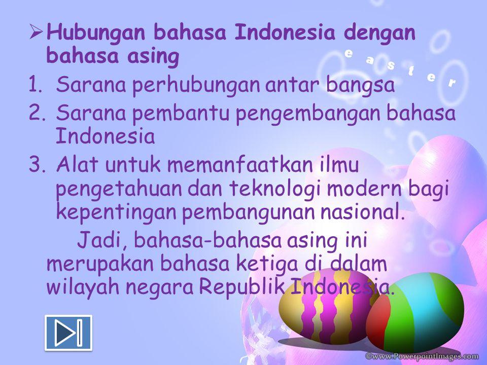  Hubungan bahasa Indonesia dengan bahasa asing 1.Sarana perhubungan antar bangsa 2.Sarana pembantu pengembangan bahasa Indonesia 3.Alat untuk memanfa
