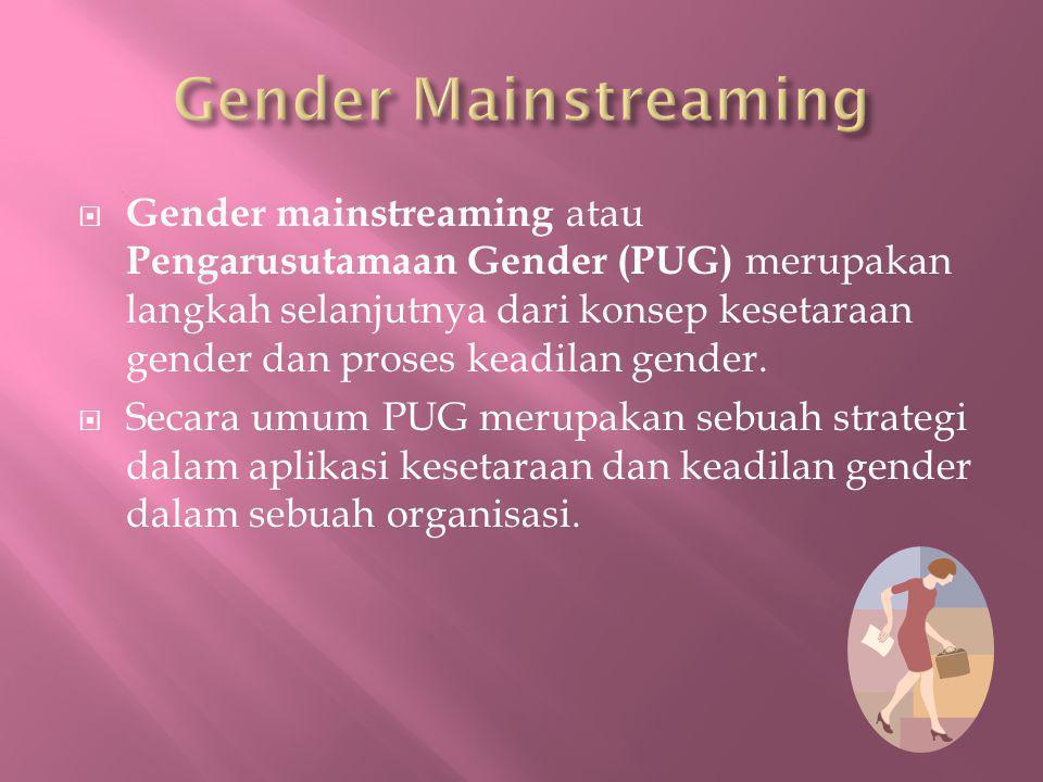  Gender mainstreaming atau Pengarusutamaan Gender (PUG) merupakan langkah selanjutnya dari konsep kesetaraan gender dan proses keadilan gender.  Sec