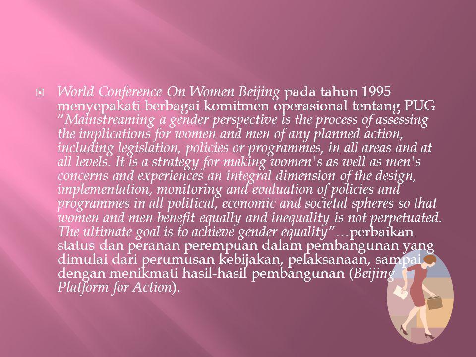 " World Conference On Women Beijing pada tahun 1995 menyepakati berbagai komitmen operasional tentang PUG "" Mainstreaming a gender perspective is the"