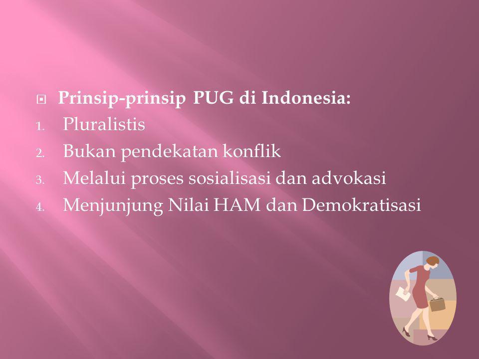 Prinsip-prinsip PUG di Indonesia: 1. Pluralistis 2. Bukan pendekatan konflik 3. Melalui proses sosialisasi dan advokasi 4. Menjunjung Nilai HAM dan