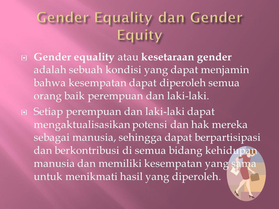  Gender equality atau kesetaraan gender adalah sebuah kondisi yang dapat menjamin bahwa kesempatan dapat diperoleh semua orang baik perempuan dan lak