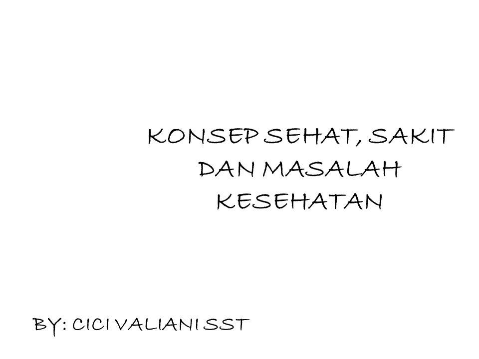 KONSEP SEHAT, SAKIT DAN MASALAH KESEHATAN BY: CICI VALIANI SST