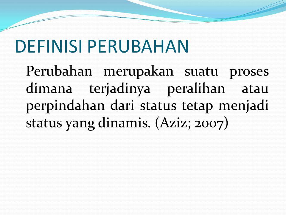 DEFINISI PERUBAHAN Perubahan merupakan suatu proses dimana terjadinya peralihan atau perpindahan dari status tetap menjadi status yang dinamis.