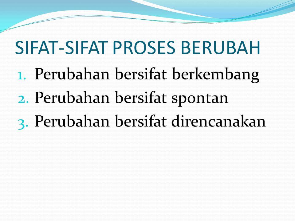 SIFAT-SIFAT PROSES BERUBAH 1. Perubahan bersifat berkembang 2.