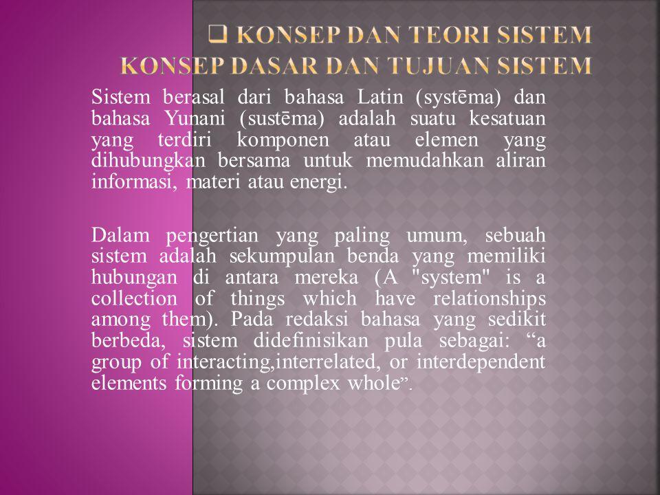 Sistem berasal dari bahasa Latin (systēma) dan bahasa Yunani (sustēma) adalah suatu kesatuan yang terdiri komponen atau elemen yang dihubungkan bersam