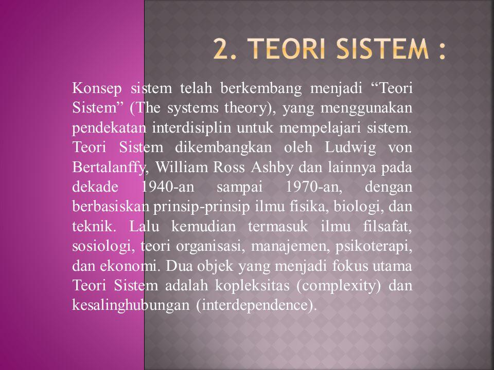 "Konsep sistem telah berkembang menjadi ""Teori Sistem"" (The systems theory), yang menggunakan pendekatan interdisiplin untuk mempelajari sistem. Teori"