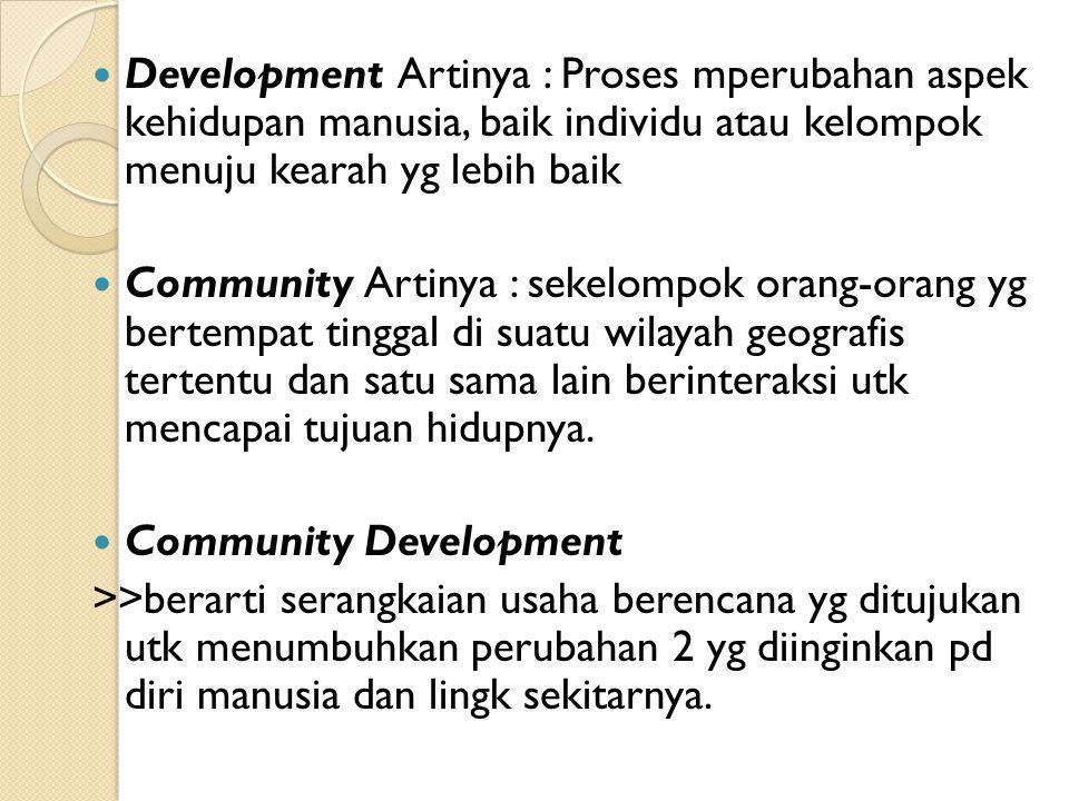 Development Artinya : Proses mperubahan aspek kehidupan manusia, baik individu atau kelompok menuju kearah yg lebih baik Community Artinya : sekelompo