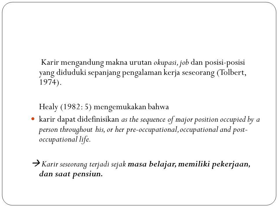 Karir mengandung makna urutan okupasi, job dan posisi-posisi yang diduduki sepanjang pengalaman kerja seseorang (Tolbert, 1974). Healy (1982: 5) menge