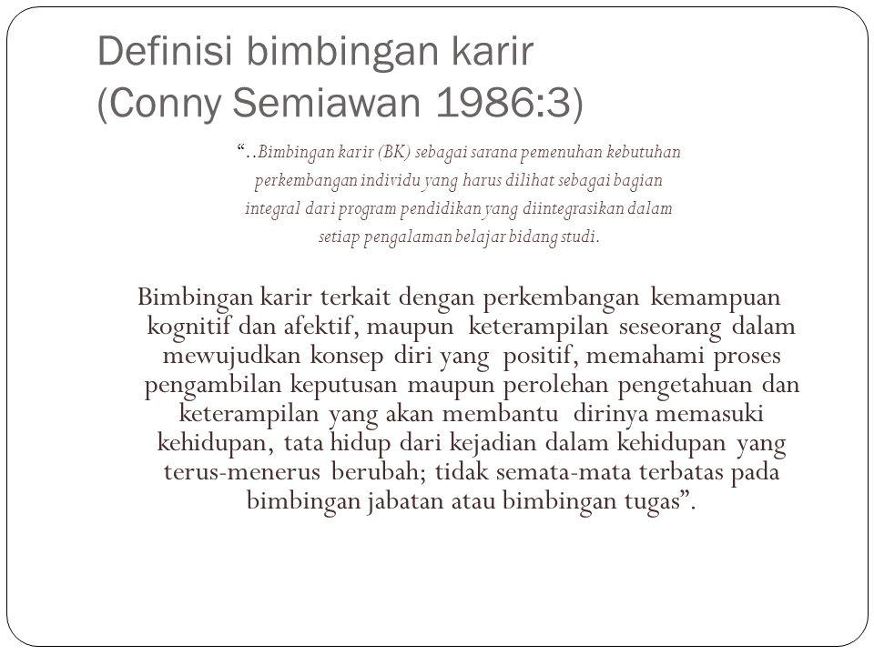 """Definisi bimbingan karir (Conny Semiawan 1986:3) """"..Bimbingan karir (BK) sebagai sarana pemenuhan kebutuhan perkembangan individu yang harus dilihat s"""