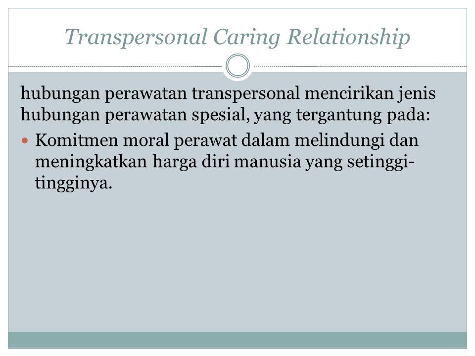 Transpersonal Caring Relationship hubungan perawatan transpersonal mencirikan jenis hubungan perawatan spesial, yang tergantung pada: Komitmen moral p