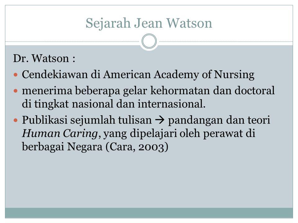Sejarah Jean Watson Dr. Watson : Cendekiawan di American Academy of Nursing menerima beberapa gelar kehormatan dan doctoral di tingkat nasional dan in