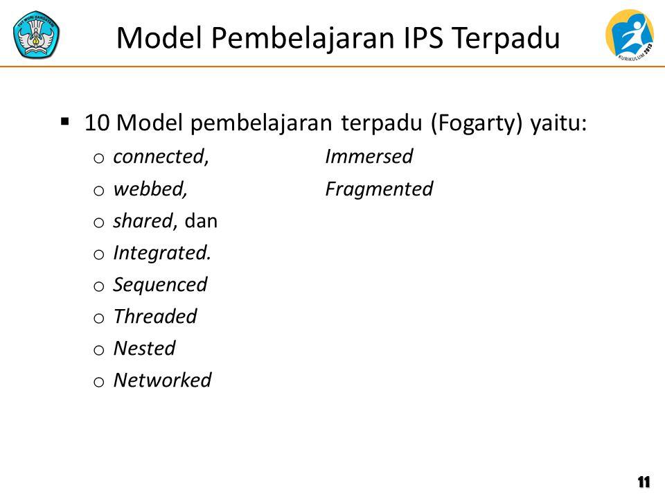Model Pembelajaran IPS Terpadu  10 Model pembelajaran terpadu (Fogarty) yaitu: o connected, Immersed o webbed, Fragmented o shared, dan o Integrated.