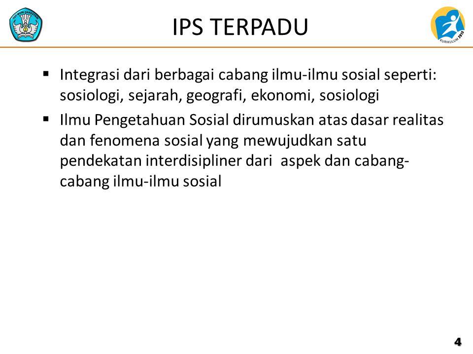 IPS TERPADU  Integrasi dari berbagai cabang ilmu-ilmu sosial seperti: sosiologi, sejarah, geografi, ekonomi, sosiologi  Ilmu Pengetahuan Sosial diru